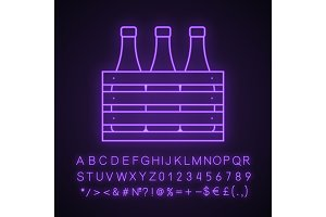Beer case neon light icon