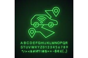 Self driving car neon light icon