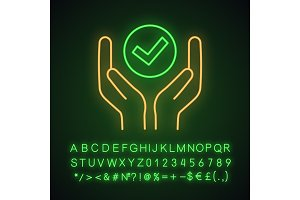 Quality services neon light icon