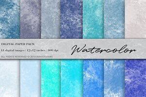 Watercolor Digital Paper, Watercolor