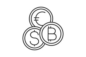 Currency exchange linear icon
