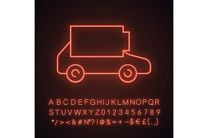 Discharged electric car neon icon
