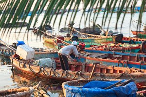 Traditional asian fishing boats