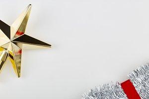 Christmas Gold Star Silver Tinsel De