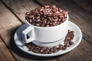 Coffee Beans in a Tea cup