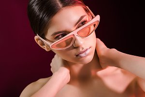 portrait of stylish model in eyeglas