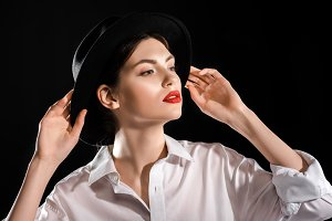 portrait of fashionable model in whi