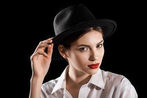 portrait of stylish woman in black h