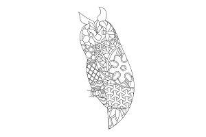 Patterned owl zentangle style