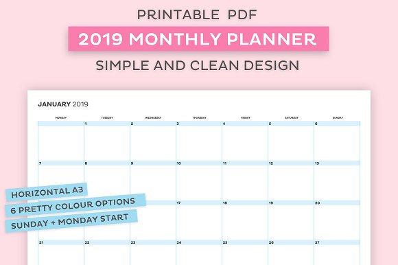 2019 Monthly Planner Templates Creative Market