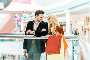 beautiful young couple with shopping