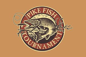 Vintage pike fishing emblems, labels