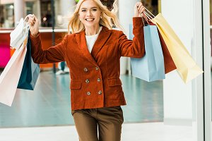 beautiful excited woman with shoppin