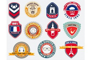 Badges set, labels and designs