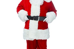 bearded santa claus posing in red co