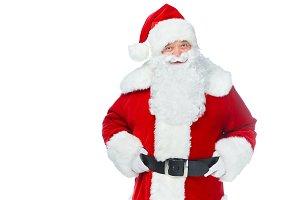 bearded santa claus posing isolated