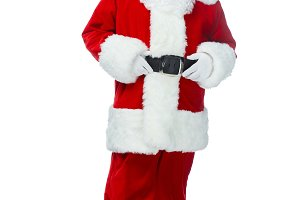 happy santa claus posing in red cost