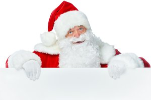 santa claus in red hat with empty bo