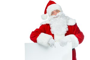 santa claus with empty board isolate