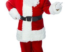 surprised santa claus showing someth
