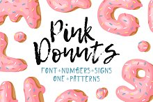 Pink Donuts, Font & Patterns by  in Objects