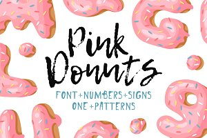 Pink Donuts, font&signs, patterns