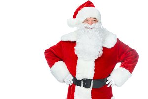 smiling santa claus posing isolated