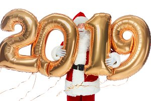 funny santa claus holding new year 2