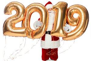 santa claus holding new year 2019 go