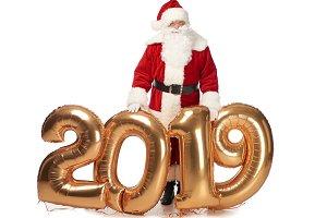 santa claus posing with new year 201