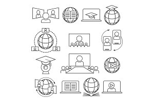 Webinar, online learning icon set