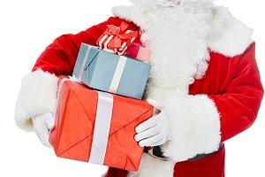 smiling santa claus with christmas p