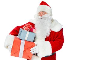 bearded santa claus with christmas p