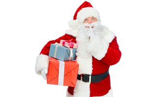 santa claus with christmas presents