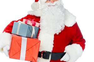 pensive santa claus with christmas g