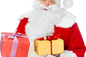 santa claus in hat with christmas gi