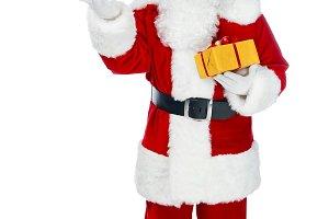santa claus with christmas gift boxe