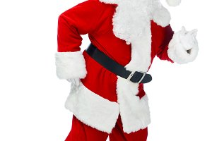 funny santa claus walking in red cos