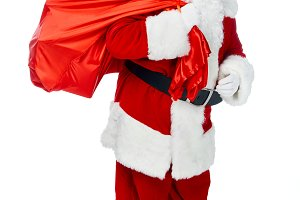 santa claus in red costume carrying