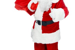 santa claus with red christmas bag s