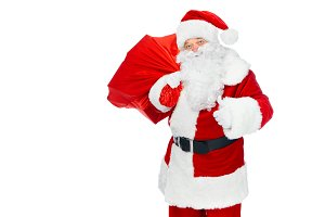 happy santa claus with christmas bag