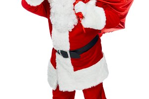 santa claus in red costume with chri