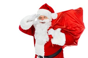 santa claus in red hat holding chris