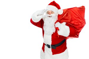 bearded santa claus with red christm