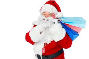 santa claus in red costume with sale