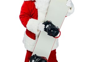 Santa claus in red costume standing