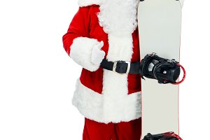 Santa claus with snowboard showing t