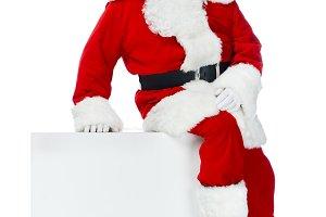 santa claus sitting on white empty c