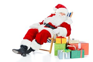 santa claus relaxing on beach chair