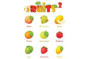 Vector fruits icon set